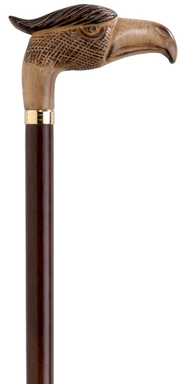 Wooden Eagle Knob Walking Stick Carved Beech Wood Cane Collectable Design Stick…