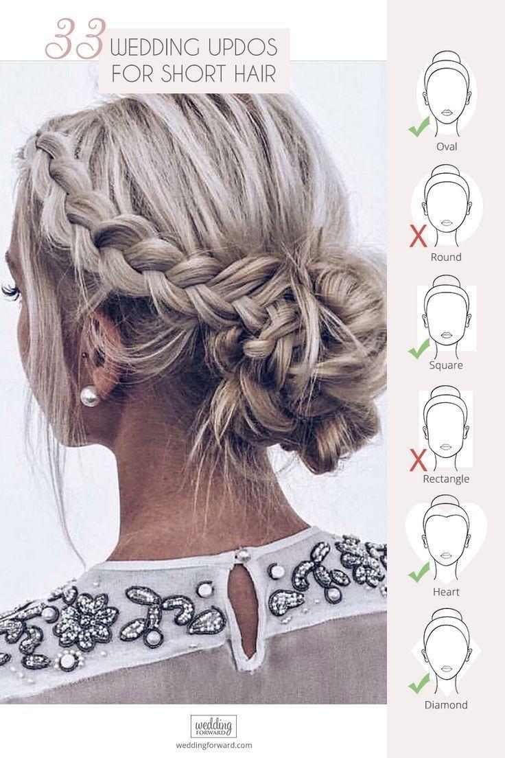 33 Hochzeits-Hochsteckfrisuren für kurzes Haar – #Haar #kurz #Updos #Hochzeit