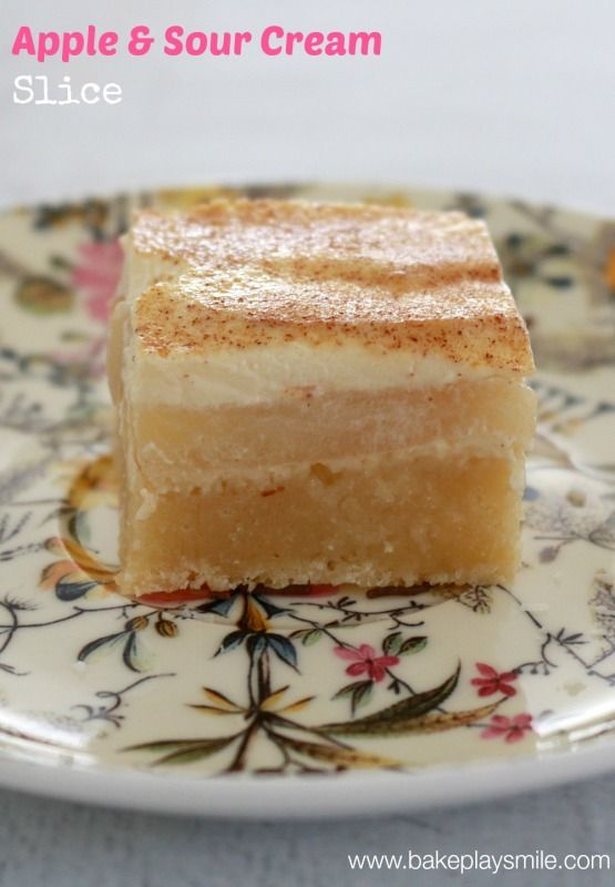 Apple & Sour Cream Slice... this is seriously so good! | Bake Play Smile