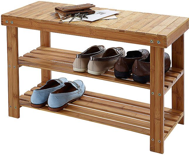 This solid bamboo bench has two slatted shelves to keep 6-8 pairs of shoes tidy and ready to slip on. At just over 17″ in height, it's also the perfect