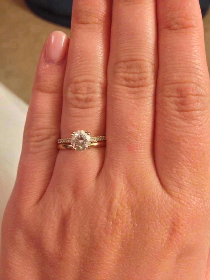 Pave engagement ring with plain wedding band