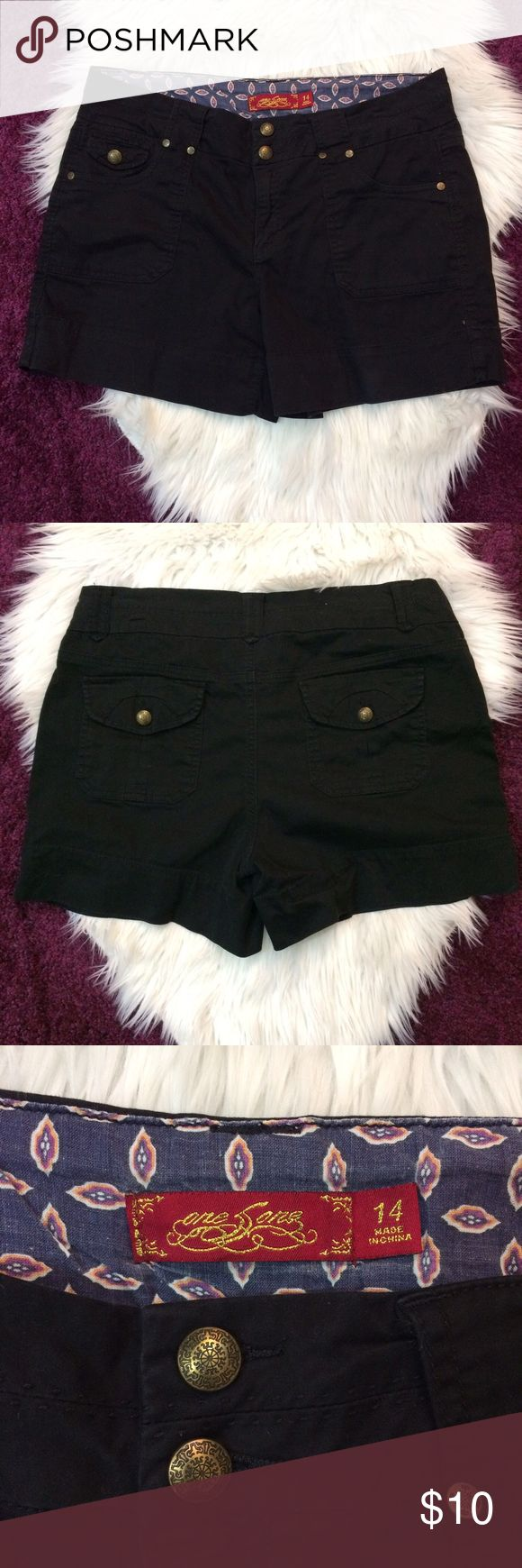 Black Khaki Shorts by One 5 One Denim Black khaki shorts size 14. Waist is 18 across, inseam is 5, rise is 10. 98% cotton and 2% spandex. Really soft! Open to offers and 30% off bundles! one 5 one Shorts