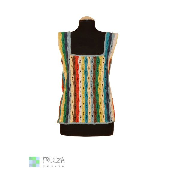 Colorful striped woman top crotchet handmade by FreezaDesign