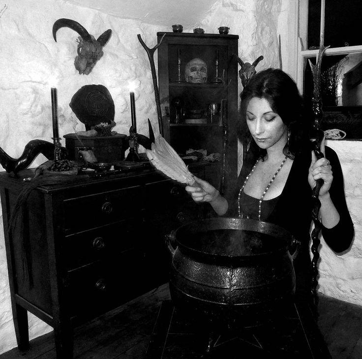 Gemma Gary with altar and Cauldron