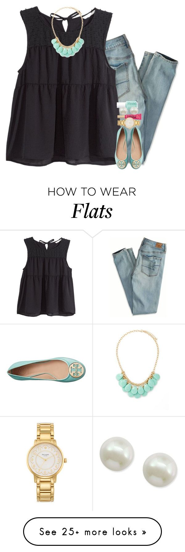 """""""the cutest Tory Burch flats I've ever seen"""" by gourney on Polyvore featuring American Eagle Outfitters, H&M, Forever 21, Tory Burch, Essie, Kate Spade, Majorica, women's clothing, women's fashion and women"""