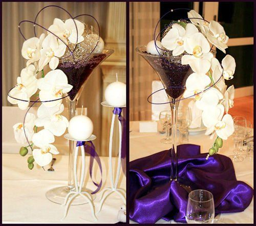 Stunning Stemmed Martini Glass Wedding Centerpieces, View