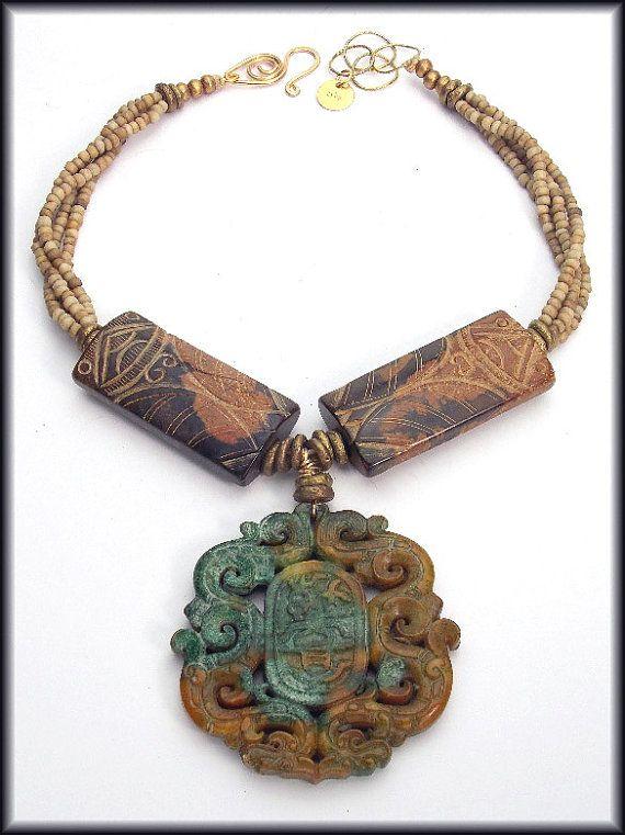 SINGAPORE  Handcarved Jade  Handmade by sandrawebsterjewelry, $255.00