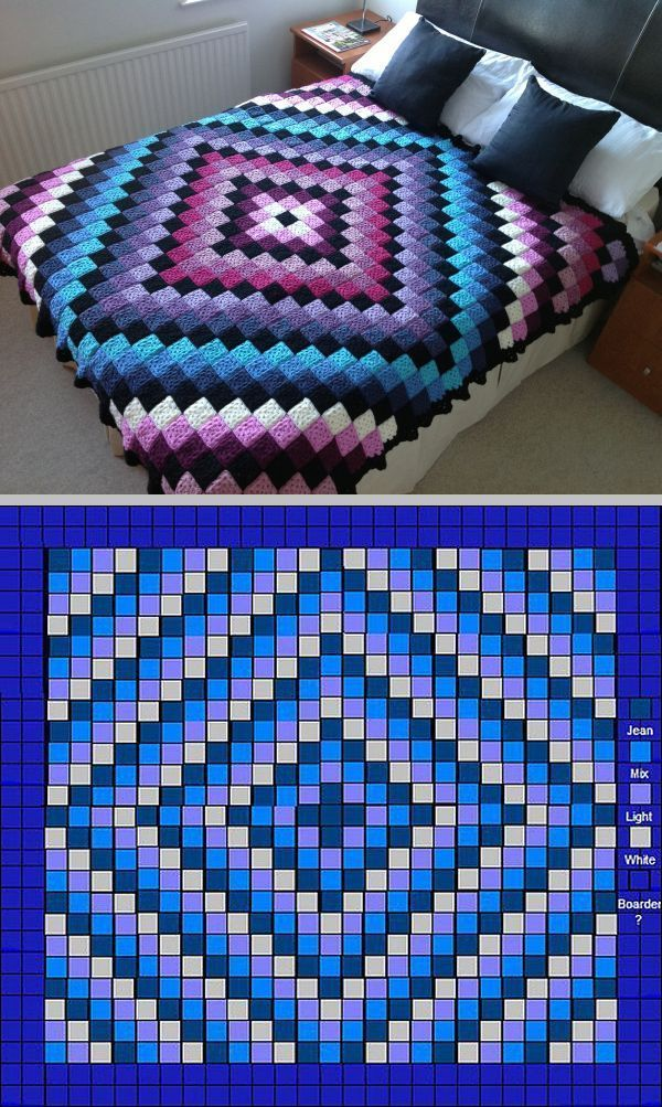 "Love the colors! The famous 'Around The World' quilt-style bedcover, free pattern by Karen Buhr. Fits a queen-size bed (73"" x 94""). Pattern requires 576 two-round granny squares (center) & 208 five-round squares for the solid border, which are then sewn together. Squares could be made larger & JAYG"