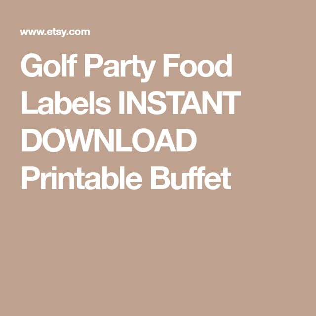 Golf Party Food Labels INSTANT DOWNLOAD Printable Buffet