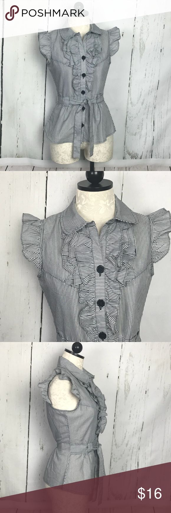 """Feathers Brand Pinstripe Blouse Pretty and perfect to wear to work! Short sleeve, button down blouse with charcoal grey pinstripes - front ruffle smocked at back waist with tie  Great condition!  True to size  25"""" Length from back neckline  18"""" underarms across back  77% cotton, 23% polyester Feathers Tops Blouses"""