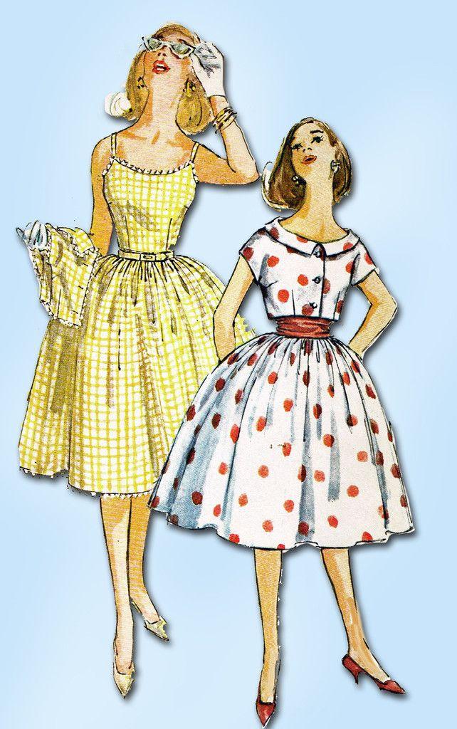 1960s Vintage Simplicity Sewing Pattern 3471 Uncut Misses Sun Dress & Topper 31B
