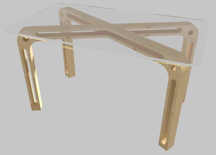 Стол обеденный из березовой фанеры и закаленного стекла. Минималистский дизайн, крепкая конструкция, уникальные соединения типа «пазл».