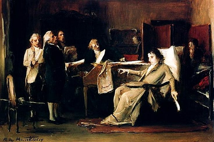 Mozart directing his requiem on his deathbed. Mihály Munkácsy, 1885. Magyar Nemzeti Galeria, Budapest. Families of the World ~ The Universal Compendium