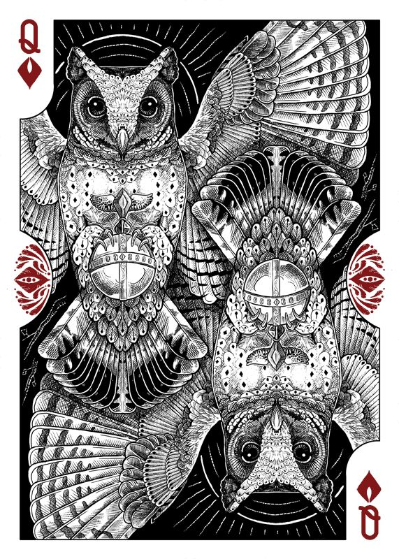 Strigiformes Owls Playing Cards by Renee LeCompte - Queen of Diamonds | more here: http://playingcardcollector.net/2014/11/26/owls-strigiformes-playing-cards-by-renee-lecompte/