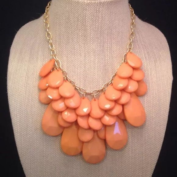Susan Graver Drop Necklace Coral Gorgeous coral colored teardrop shaped beads! Susan Graver Jewelry Necklaces