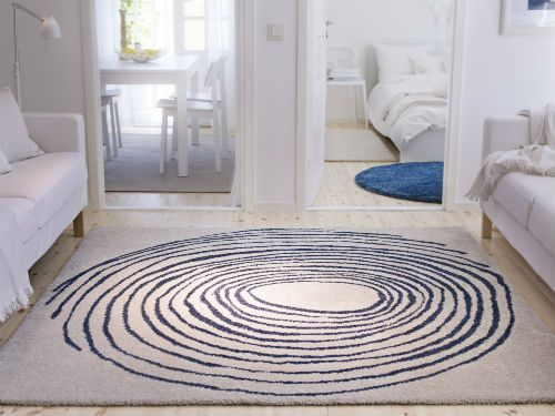 Eivor Cirkel Rug High Pile White Blue Ikea Fans Hy Morning And