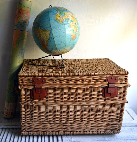 Large Antique Steamer Trunk French Rustic by shabbyfrenchvintage