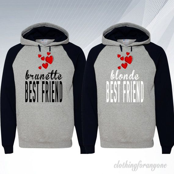 Blonde Brunette Best Friends Hoodies Couple by clothingforanyone