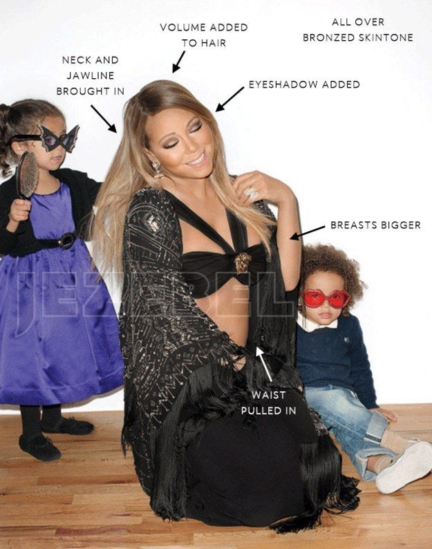 The rest of the photos, seen on Jezebel, have the same blanket color correction—even on Mariah's children. | Terry Richardson's Cover Pictures Of Mariah Carey Are Massively Photoshopped