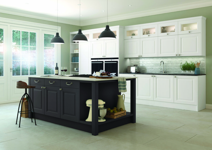 Thatcham Kitchens- Mereway Kitchens- Town & Country-  Gainsborough- Chalk White and Anthracite Grey