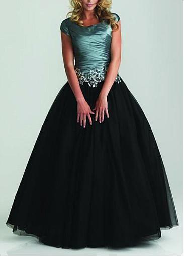 1f852507e64 Modest Taffeta   Tulle  Satin Ball Gown Scoop Neckline Drop Waist Color  Block Full Length Prom Dress  Dressilyme