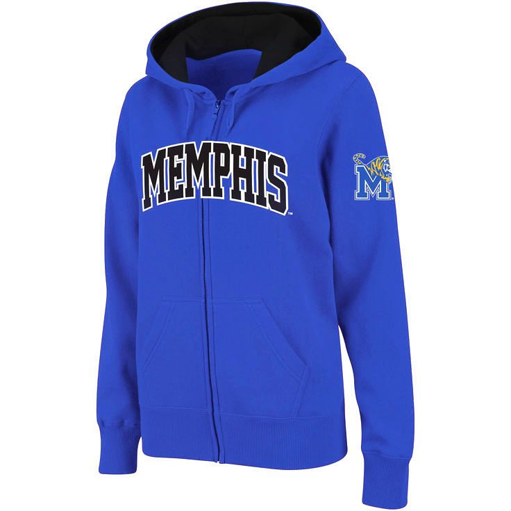Memphis Tigers Stadium Athletic Women's Arched Name Full-Zip Hoodie - Royal - $31.99