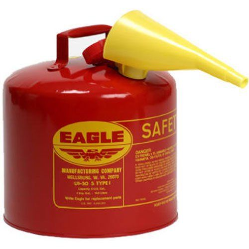 """Product review for Eagle UI-50-FS Red Galvanized Steel Type I Gasoline Safety Can with Funnel, 5 gallon Capacity, 13.5"""" Height, 12.5"""" Diameter. 5 gallon, type L, safety gasoline can with f-15 funnel, heavy Gauge steel, sturdy bottom rim & carrying handle, patented comfort grip trigger release, brass pour spout & flame arrestor, UL, , & FM approved."""