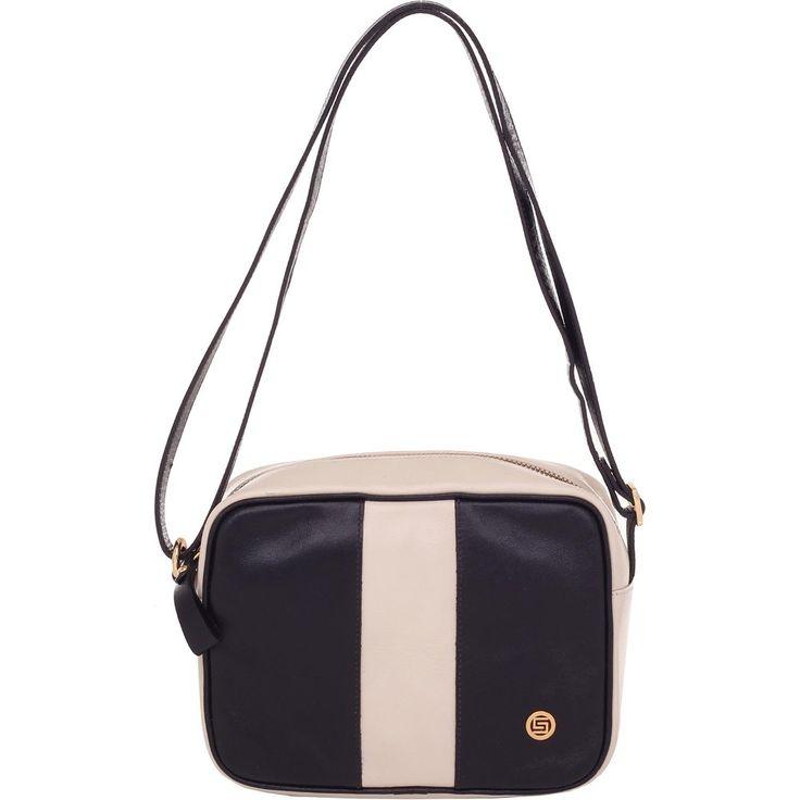 Bolsa Couro Smartbag Transversal Preto/Marfim - 75195 - bolsas para voce