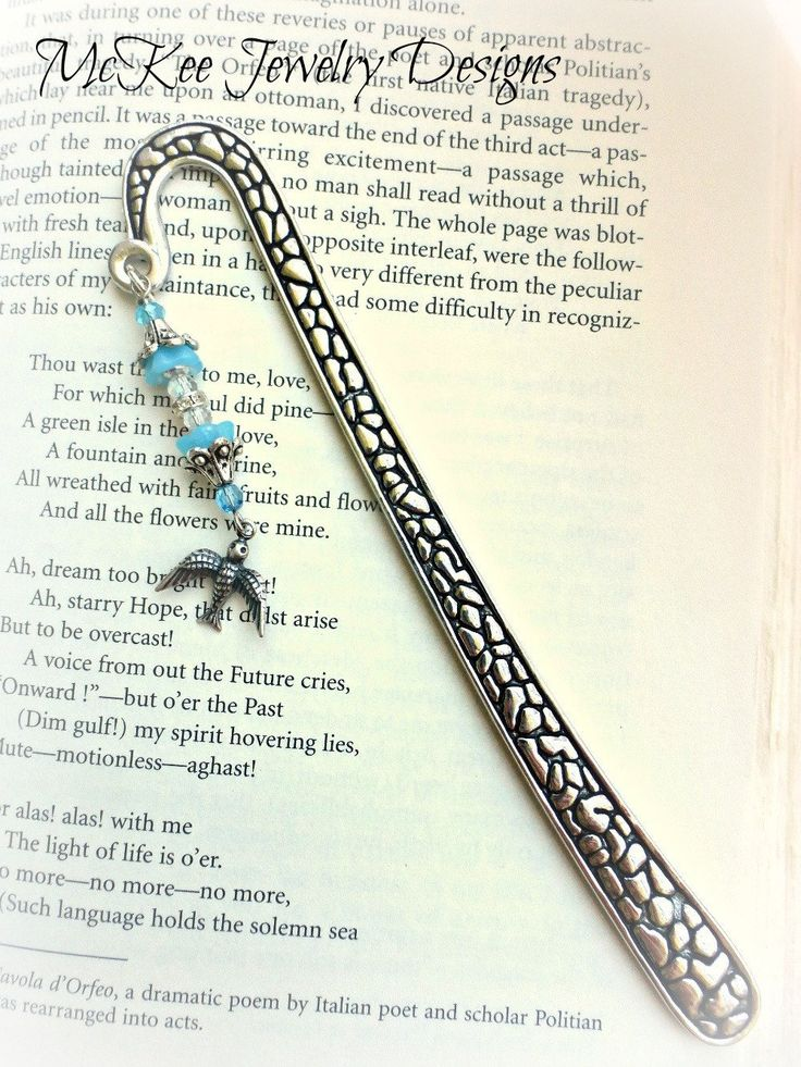 Blue crystal, silver beads, rhinestones, charm. Silver metal, long bookmark 24371764a01