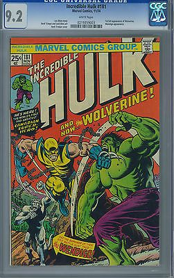 Incredible Hulk 181 CGC 9.2 White Pages - First Wolverine!!!