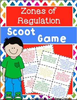 A Zones of Regulation scoot game. 30 task cards to help students learn to identify the 4 Zones of Regulation (by Leah Kuypers).