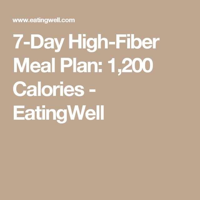 7-Day High-Fiber Meal Plan: 1,200 Calories - EatingWell