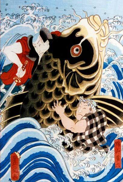 Japanese painting  Samurai and koi