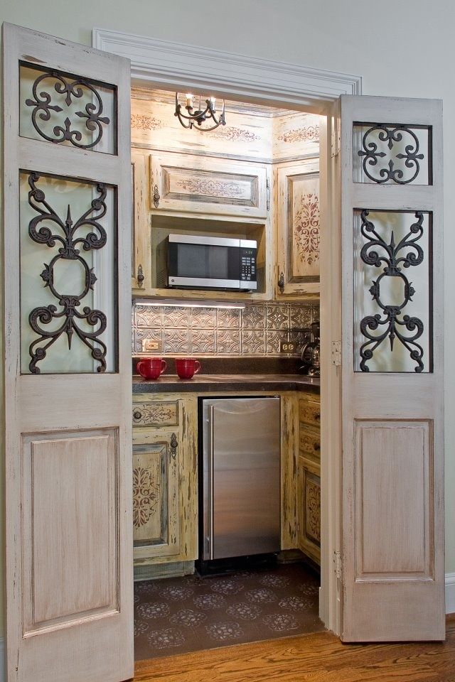 Kitchenette In A Closet Small Kitchenette With Beautiful Doors In 2019 Basement Kitchenette
