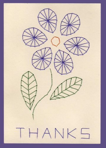 """free flower pattern - embroidered """"thank you"""" greeting card"""