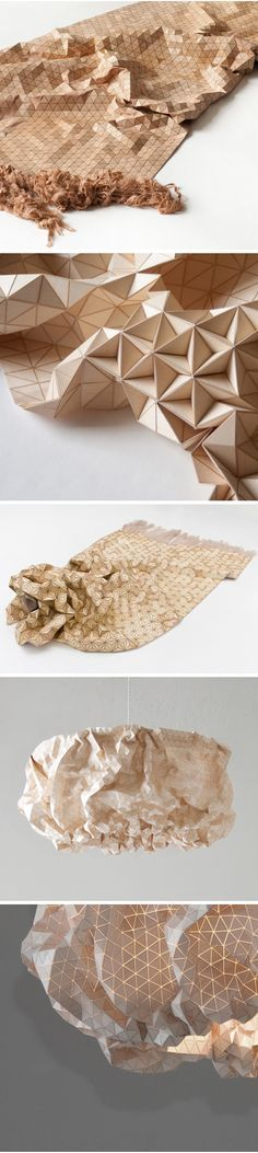 Innovative Textiles - flexible wooden fabric with a tactile geometric design; material manipulation // Elisa Strozyk