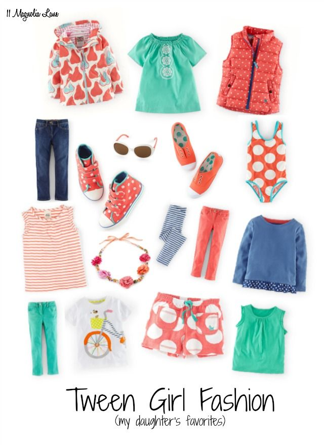 Preteen/ tween girl fashion board (by an 11-year-old):  aqua, navy, and coral mix and match for colorful spring outfits.