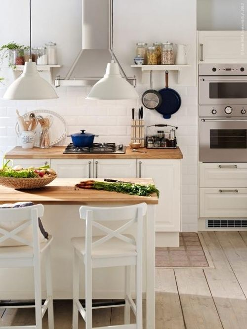 Classic white kitchen (via Inspired by IKEA)