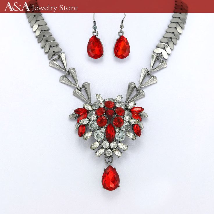 Find More Pendant Necklaces Information about Brightly Statement Necklaces with A Bunch of Flowers Red/Black Rhinestones Fashion Jewelry  for Women Valentine's Gifts,High Quality necklace with,China fashion statement necklace Suppliers, Cheap statement necklace from A&A Jewelry Store on Aliexpress.com