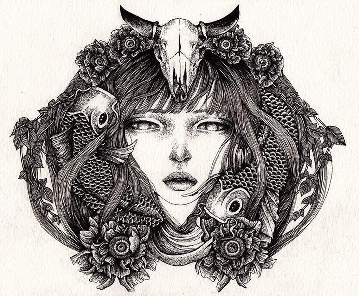 + Ilustração :     Interessante a forma como a artista Annita Maslov aplica o pontilhismo em seus trabalhos.