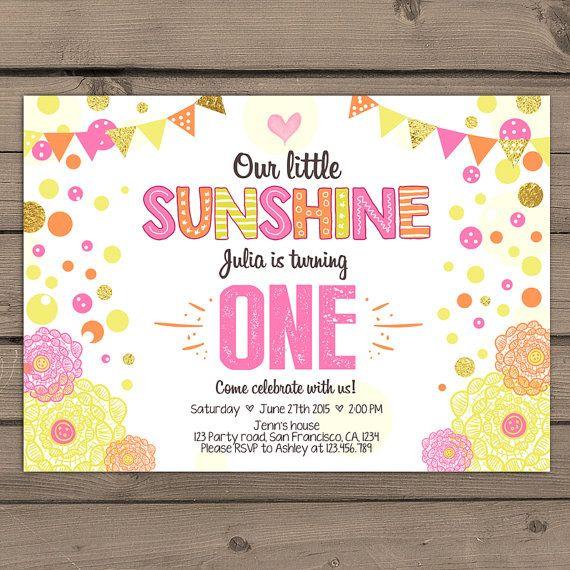 Sunshine Birthday Party Invite Sunshine door Anietillustration