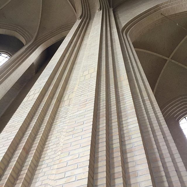 Amazing brick detailing inside Grundtvigs Church in Coppenhagen. #techneontour #technearchitects #brick #church #interiordesign