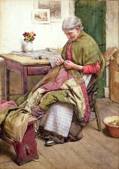 """Walter Langley - """"The Old Quilt"""" (British watercolour painter, 1852-1922)"""