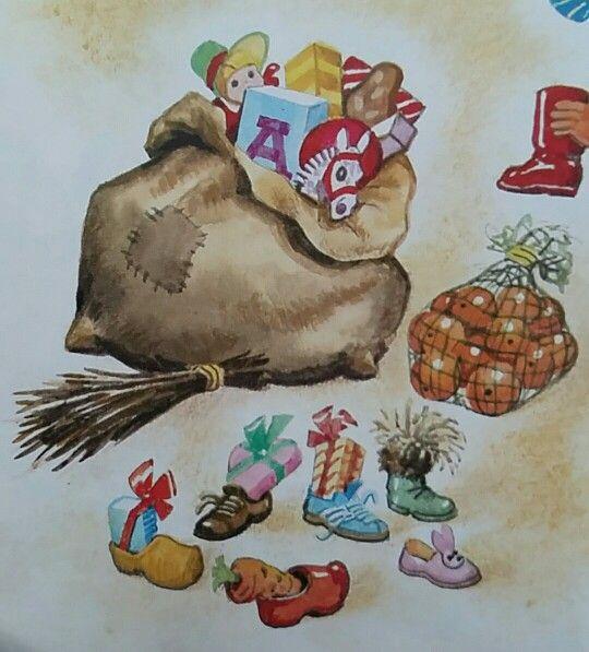 De zak van Sinterklaas met speelgoed en lekkernijen en de roe. Illustraties uit de Jr.  70