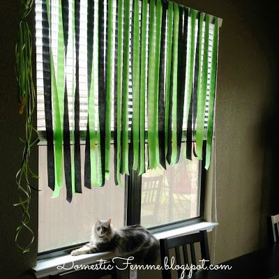 Minecraft Birthday Party: Window Decorations and a Cat Who's Itching To Swat At The Streamers & Strings
