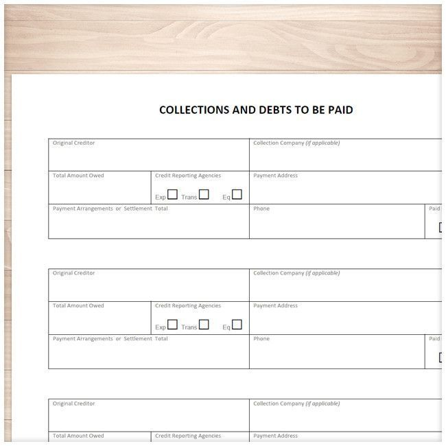 Collections and Debts to be Paid - Tracking Sheet - Printable at - time off tracking spreadsheet