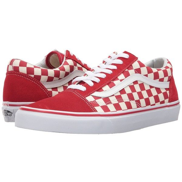 Vans Old Skool ((Primary Check) Racing Red/White) Skate Shoes (1,065 MXN) ❤ liked on Polyvore featuring shoes, sneakers, white shoes, red skate shoes, leather shoes, white leather shoes and red sneakers