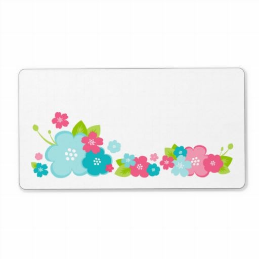 Pink & Aqua Flower Border Personalized Shipping Label
