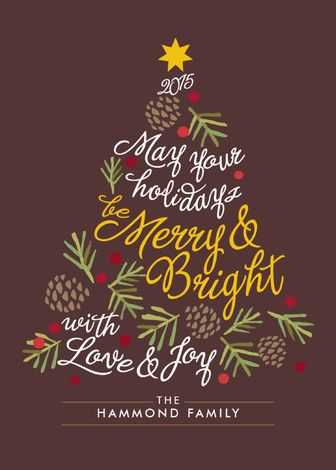 """Be Merry and Bright"" - Modern Holiday Cards in Chocolate by Griffinbell Paper Co.."