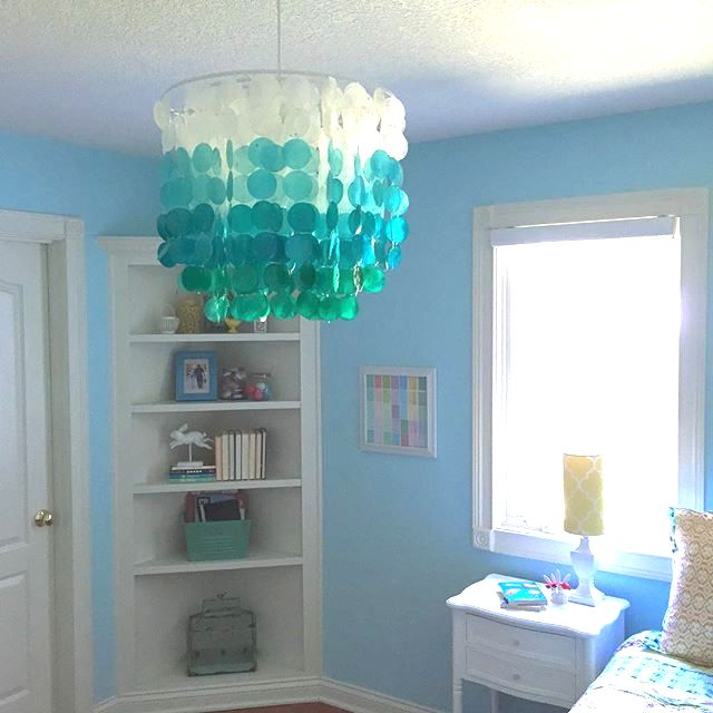 turquoise ombre capiz shell chandelier from pb teen lighting teen girl 39 s room colorful teen. Black Bedroom Furniture Sets. Home Design Ideas